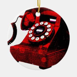 Caixa de telefone velha da mesa do pop art ornamento de cerâmica redondo