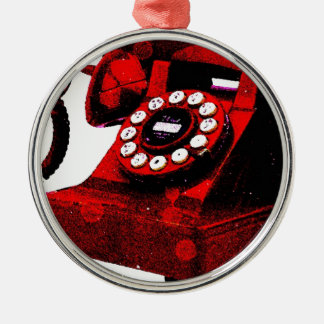 Caixa de telefone velha da mesa do pop art ornamento redondo cor prata