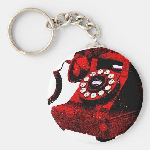 Caixa de telefone velha da mesa do pop art chaveiros