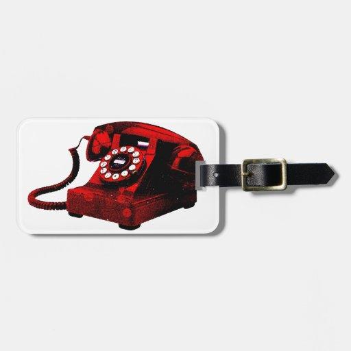 Caixa de telefone velha da mesa do pop art tag de mala