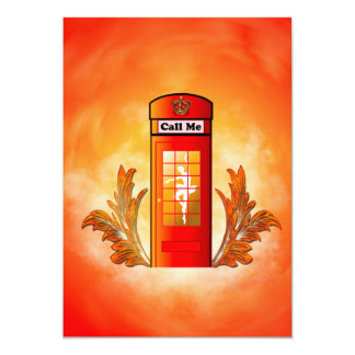 Caixa de telefone vermelha britânica convite 12.7 x 17.78cm