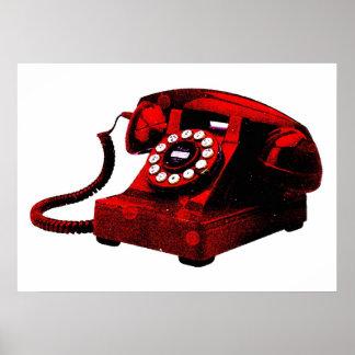 Caixa de telefone vermelha velha da mesa do pop poster