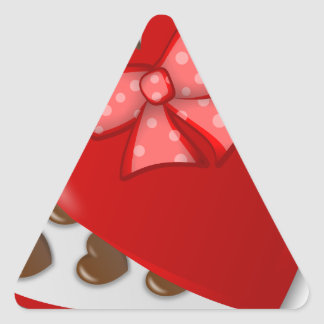 Caixa do coração do chocolate adesivo triangular