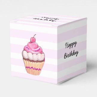 Caixa do cupcake da cereja do rosa do feliz