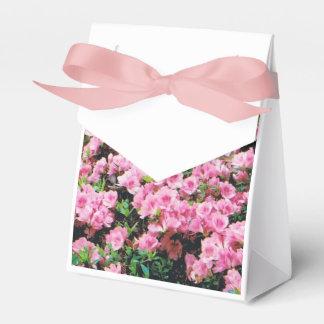 Caixa do favor de partido com azáleas cor-de-rosa