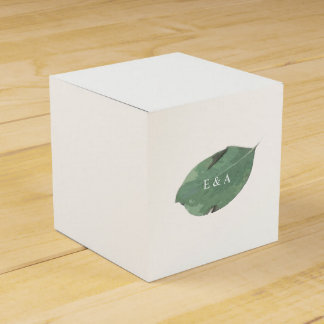 Caixa do favor do casamento da folha da aguarela
