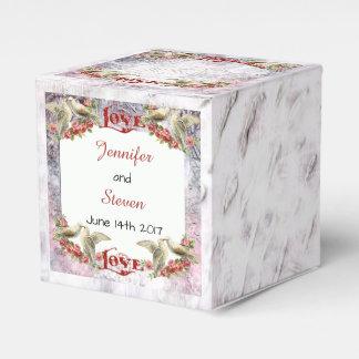 Caixa do favor do casamento da pomba do vintage