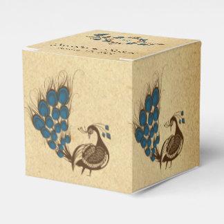 Caixa do favor do casamento do monograma do pavão