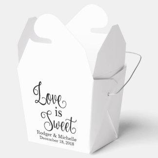 Caixa do favor do casamento - o amor é doce