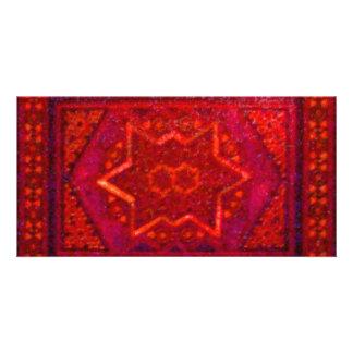 Caixa do mosaico no vermelho cartoes com fotos personalizados