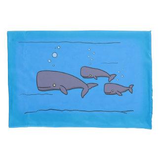caixa do travesseiro das baleias dos desenhos