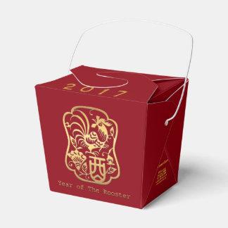 Caixa dourada do favor do vermelho do ano 2017 do