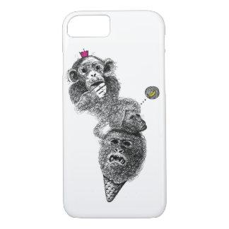 Caixa engraçada bonito do gelado do macaco capa iPhone 7