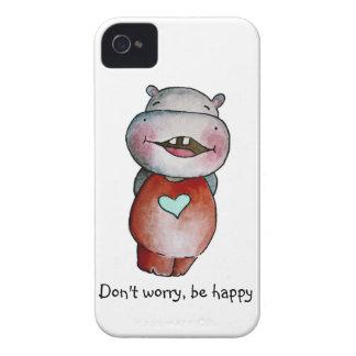 Caixa engraçada de Blackberry do hipopótamo Capinhas iPhone 4