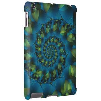 Caixa espiral azul & verde do iPad do Fractal Capa Para iPad