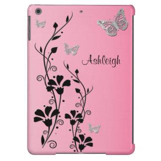 Caixa floral 3 do ar do iPad da borboleta de prata Capa Para iPad Air