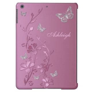 Caixa floral do ar do iPad da borboleta de prata c Capa Para iPad Air