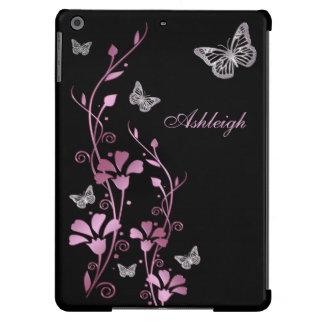 Caixa floral do ar do iPad da borboleta de prata p Capa Para iPad Air