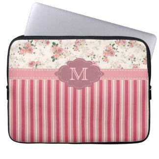 Caixa floral do monograma do rosa cor-de-rosa do v bolsa e capa para computadore