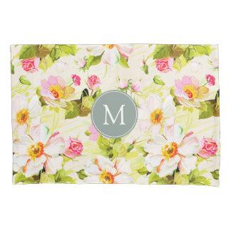 Caixa floral do travesseiro do monograma das