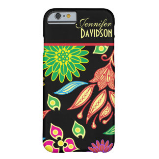 Caixa floral preta abstrata feminino do iPhone 6 Capa Barely There Para iPhone 6