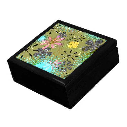 Caixa floral retro do Trinket Porta Jóias