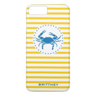 Caixa listrada amarela do iPhone 7 do caranguejo Capa iPhone 7 Plus