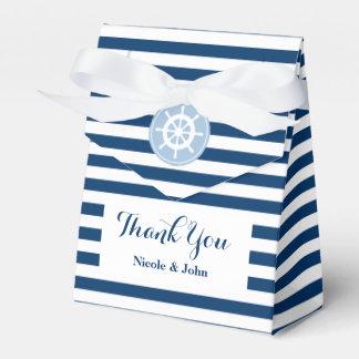 Caixa listrada azul e branca náutica do favor do