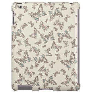 Caixa marrom de creme modelada borboletas do ipad capa para iPad