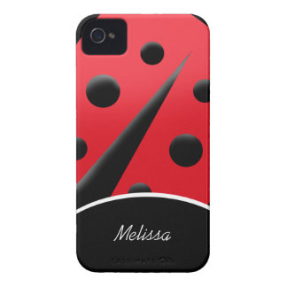 Caixa moderna vermelha/do preto joaninha do iPhone Capas Para iPhone 4 Case-Mate