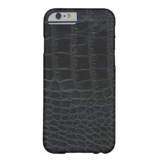 Caixa preta do iPhone 6 da pele do jacaré Capa Barely There Para iPhone 6