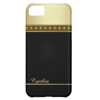 Caixa preta e goldtone Glam do iPhone 5C Capa Para iPhone 5C