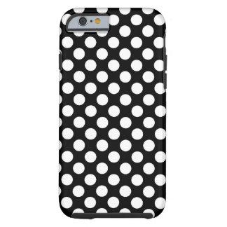 Caixa preto e branco das bolinhas capa tough para iPhone 6