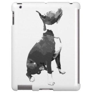 Caixa preto e branco na moda do iPad do cão do Capa Para iPad