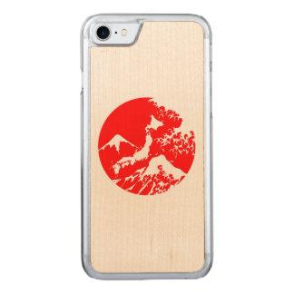 Caixa retro de Monte Fuji. Impressão vermelho do Capa iPhone 8/ 7 Carved