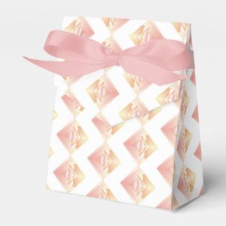 Caixa rosado geométrica do favor do casamento do