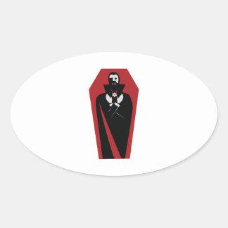 Caixão de Draculas Adesivo Oval
