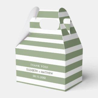 Caixas brancas verdes do favor do casamento do