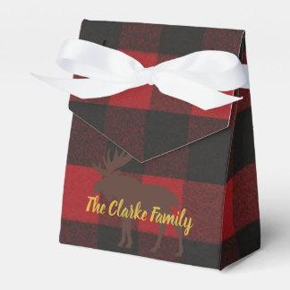 Caixas do favor de festa natalícia da xadrez dos