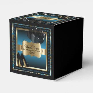 Caixinha Azul e ouro metálicos - 50th texto do aniversário