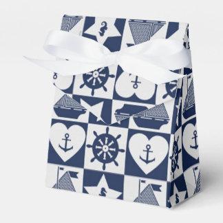 Caixinha Branco náutico dos azuis marinhos checkered