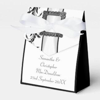 Caixinha Casamento preto e branco liso do laço do damasco