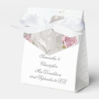 Caixinha Casamento romântico do rosa floral branco do rosa