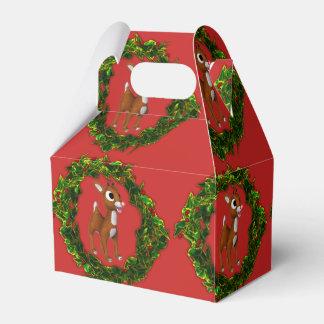 Caixinha Cervos bonitos e grinalda do Natal