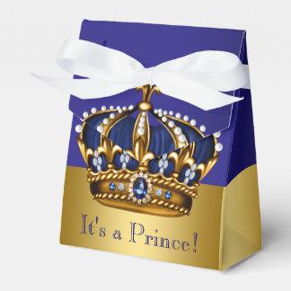 Caixinha Chá de fraldas azul do príncipe herdeiro do ouro