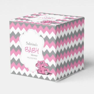 Caixinha Chá de fraldas cor-de-rosa e cinzento do elefante