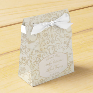 Caixinha Creme floral do damasco e casamento bege