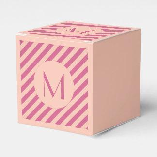 Caixinha Crepúsculo cor-de-rosa do monograma e listras