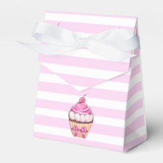 Caixinha Cupcake da cereja do rosa do feliz aniversario com