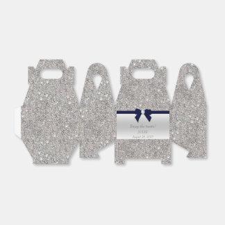 Caixinha De Lembrancinhas Arco de prata do marinho dos Sequins do falso